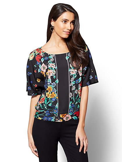 7th Avenue - Dolman Blouse - Floral Print - New York & Company