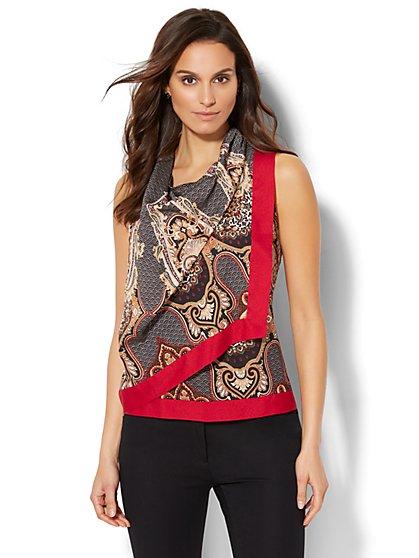7th Avenue - Drape-Neck Blouse - Print - New York & Company