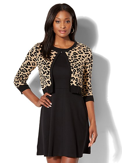 7th Avenue - Dress Cardigan - Leopard Print - New York & Company