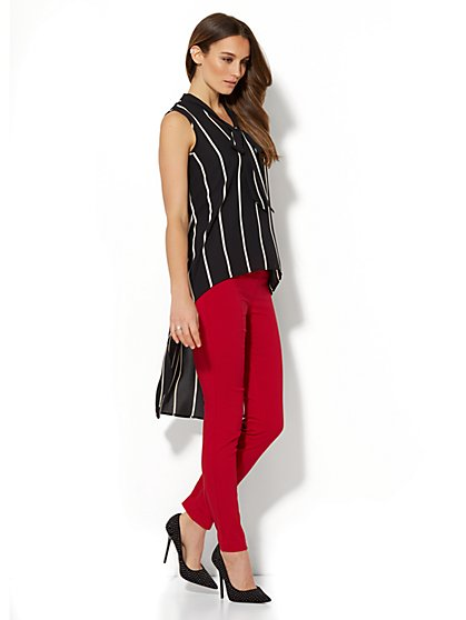 7th Avenue - Extreme Hi-Lo Tie-Front Blouse - Stripe - New York & Company