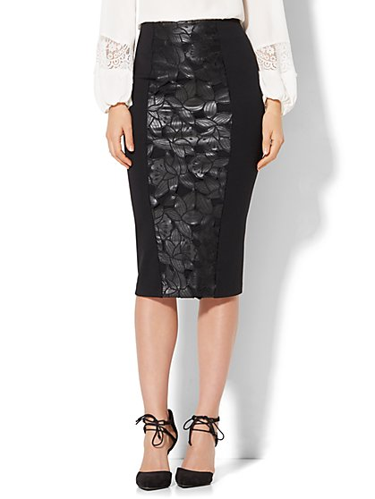 7th Avenue - Faux Leather - Cutout Panel Knit Skirt  - New York & Company