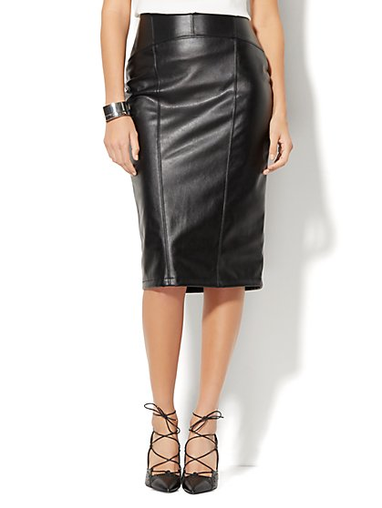 7th Avenue - Faux-Leather Pencil Skirt  - New York & Company