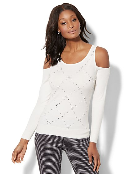 7th Avenue - Faux-Pearl Cold-Shoulder Sweater - New York & Company