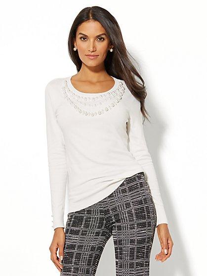 7th Avenue - Faux-Pearl Trim Sweater - New York & Company