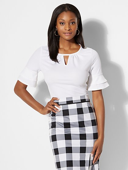 7th Avenue - Flutter-Sleeve Top - New York & Company