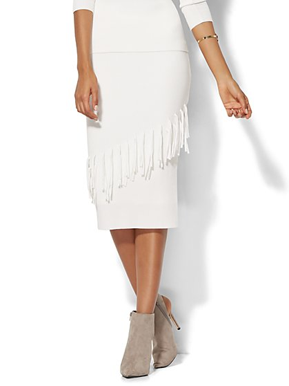 7th Avenue - Fringe-Trim Sweater Skirt  - New York & Company
