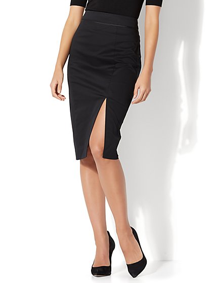 7th Avenue - Front Slit Pencil Skirt - Modern - Black - Petite - New York & Company