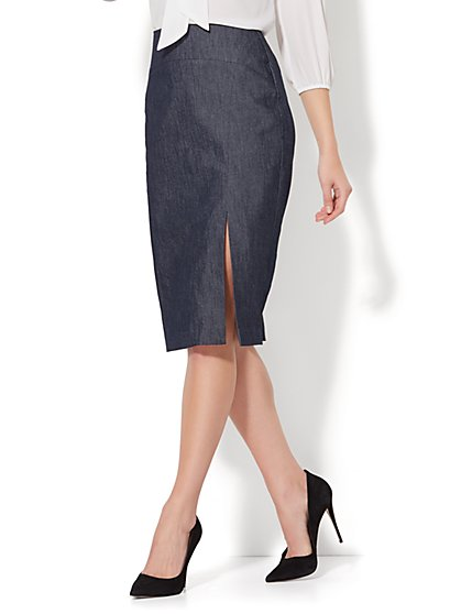 7th Avenue - Front Slit Pencil Skirt - Modern - Grand Sapphire - New York & Company
