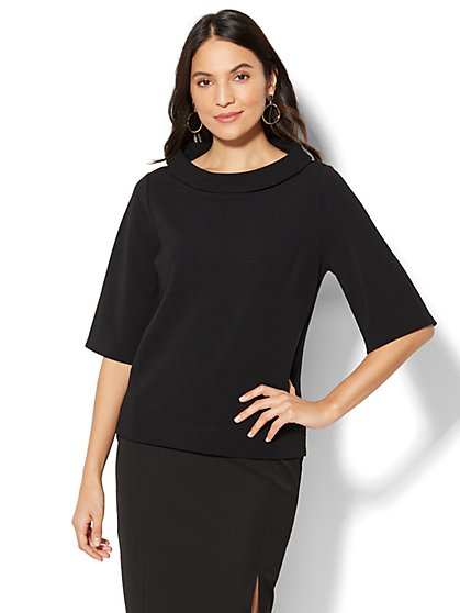 7th Avenue - Funnel-Neck Bell-Sleeve Top - Black - New York & Company