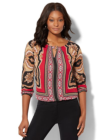 7th Avenue - Hardware-Accent Blouse - Medallion Print - New York & Company
