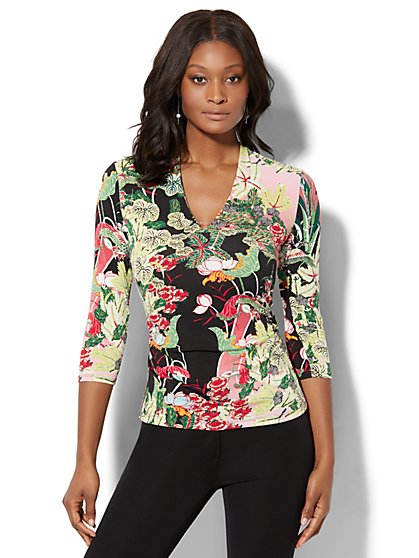 7th Avenue - Hardware-Accent V-Neck Top - Flower & Bird Print - New York & Company