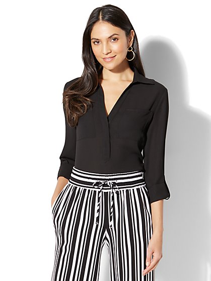 7th Avenue - Hi-Lo Popover Blouse - New York & Company