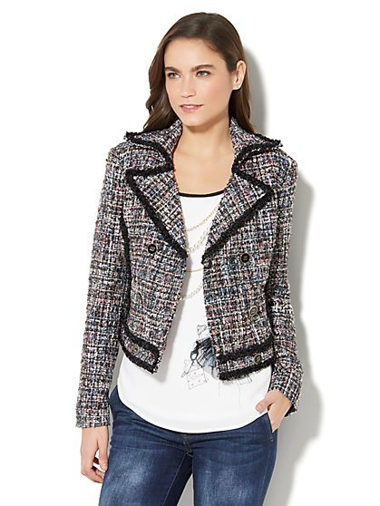 7th Avenue Jacket - Double-Breasted - Metallic Tweed - New York & Company
