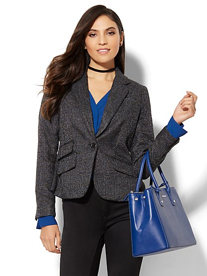 7th Avenue Jacket - One-Button - Grand Sapphire Tweed - New York & Company