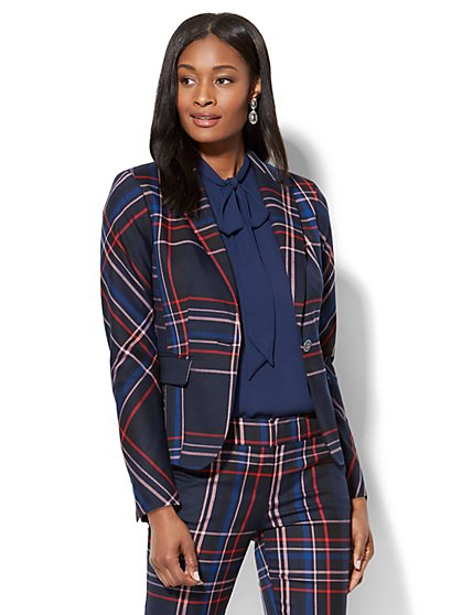 7th Avenue Jacket - One-Button - Modern - Navy Plaid  - New York & Company