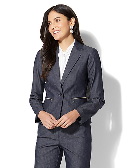 7th Avenue Jacket - One-Button - Modern - Zip Accent - Navy - New York & Company