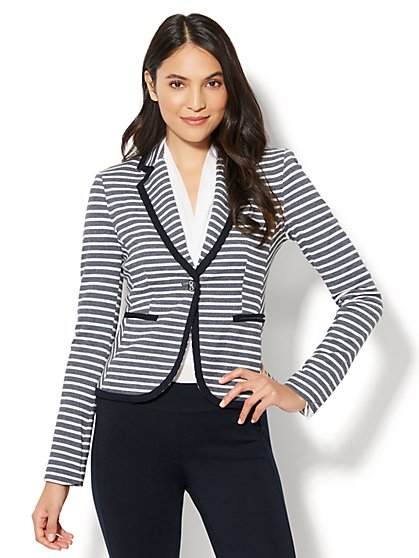 7th Avenue Jacket - One-Button - Stripe - Petite - New York & Company