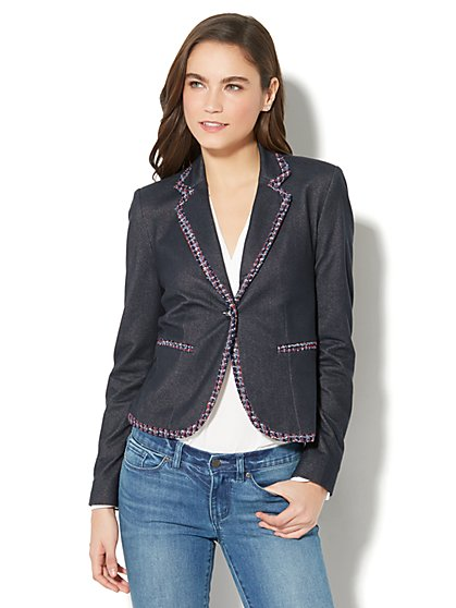 7th Avenue Jacket - Single-Button - Metallic Tweed-Trim  - New York & Company