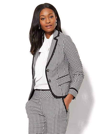 7th Avenue Jacket - Two-Button - Gingham - Petite - New York & Company