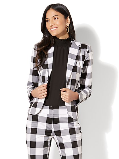 7th Avenue Jacket - Two-Button - Modern - Gingham - New York & Company