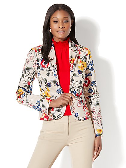 7th Avenue Jacket - Two-Button - Signature - Floral Print - New York & Company