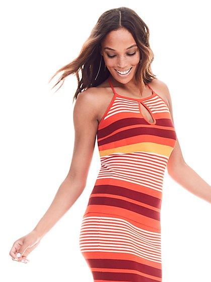 7th Avenue - Keyhole Halter Sweater - Stripe  - New York & Company