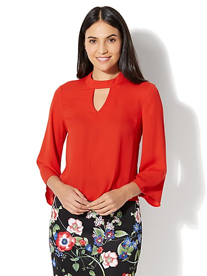 7th Avenue - Keyhole Mock-Neck Blouse - New York & Company