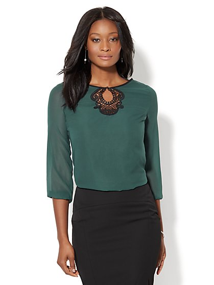 7th Avenue - Lace-Accent Blouse - New York & Company