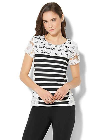 7th Avenue - Lace-Accent Short-Sleeve Top - Stripe - New York & Company