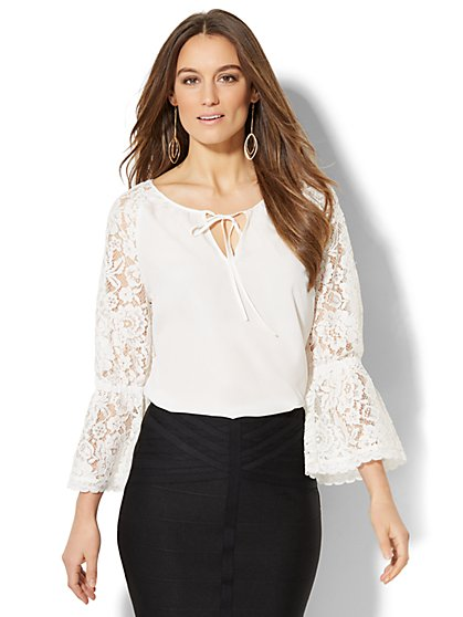 7th Avenue - Lace-Accent Tie-Neck Blouse - New York & Company