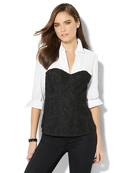 7th Avenue - Lace Corset Stretch Shirt - New York & Company