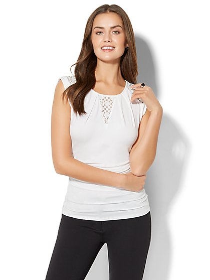 7th Avenue - Lace-Inset Cap-Sleeve Top - White - New York & Company
