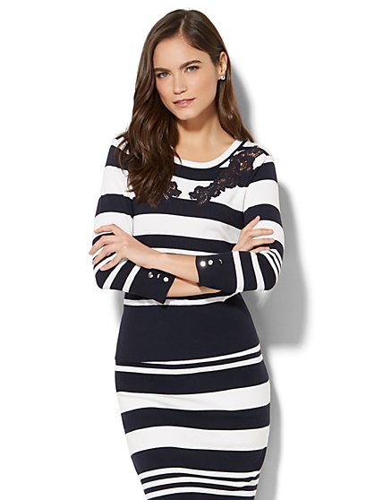 7th Avenue - Lace-Inset Striped Top - New York & Company
