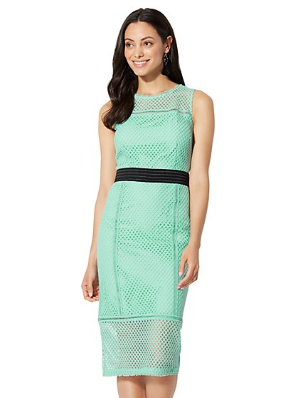 7th Avenue - Lace-Mesh Sheath Dress - New York & Company