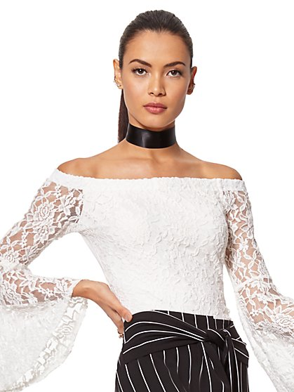 7th Avenue - Lace Off-The-Shoulder Bell-Sleeve Blouse - New York & Company
