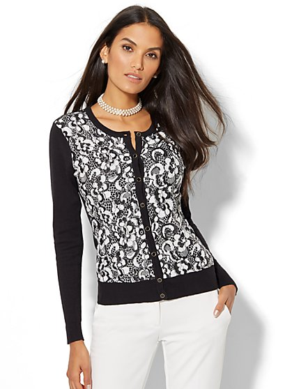 7th Avenue - Lace-Overlay Chelsea Crewneck Cardigan - New York & Company