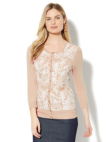 7th Avenue - Lace-Overlay Crewneck Chelsea Cardigan - New York & Company