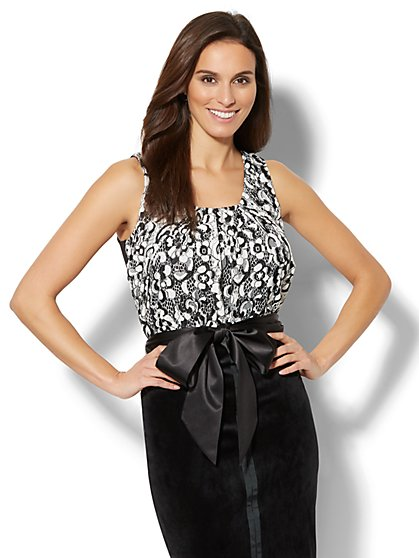 7th Avenue - Lace-Overlay Sleeveless Top - New York & Company