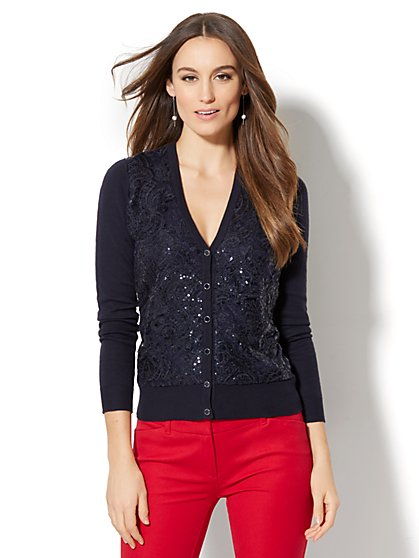 7th Avenue - Lace-Overlay V-Neck Chelsea Cardigan - New York & Company