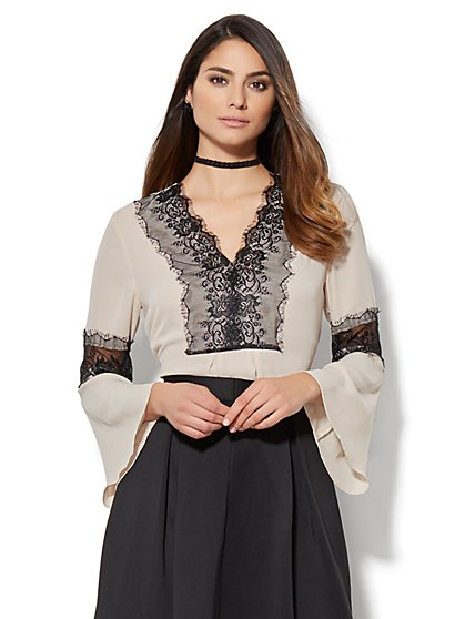 7th Avenue - Lace-Trim Bell-Sleeve Blouse - New York & Company