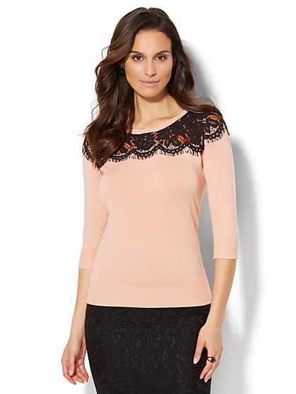 7th Avenue - Lace-Trim Sweater - New York & Company