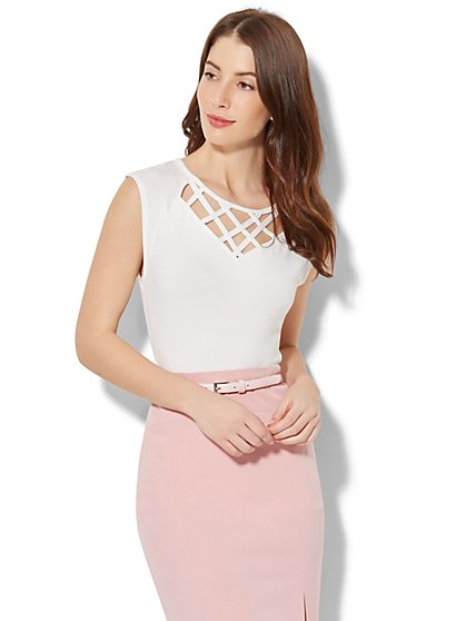 7th Avenue - Lattice-Trim Cap-Sleeve Top - White - New York & Company