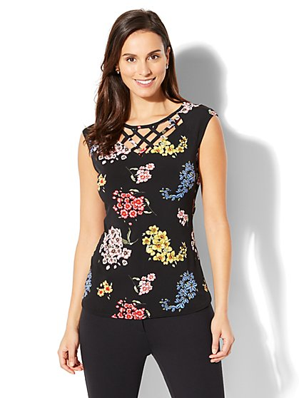 7th Avenue - Lattice-Trim Floral-Print Top - New York & Company