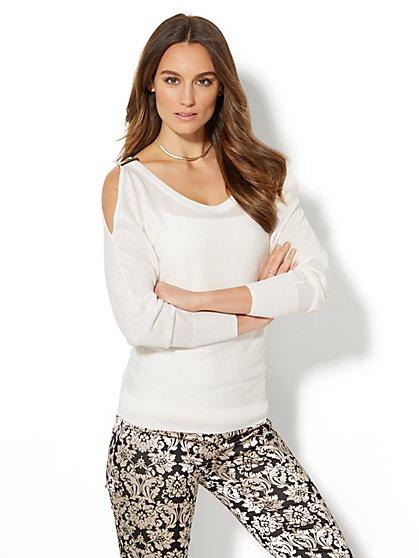 7th Avenue - Lurex Cold-Shoulder Sweater - Petite - New York & Company