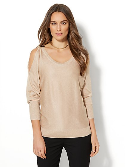 7th Avenue - Lurex Cold-Shoulder Sweater - New York & Company