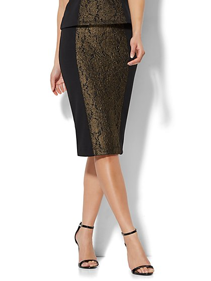 7th Avenue - Lurex Lace Pencil Skirt - Black - Petite - New York & Company
