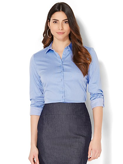 7th Avenue - Madison Stretch Shirt - Blue & White Pinstripe - Petite - New York & Company