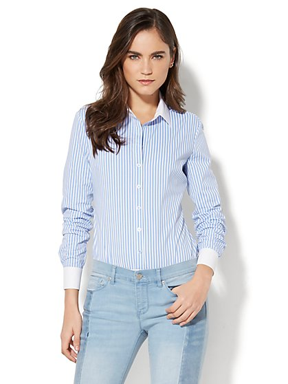 7th Avenue - Madison Stretch Shirt Bodysuit - Stripe - New York & Company