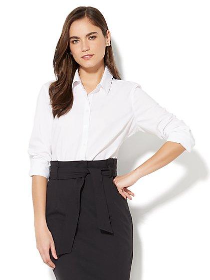 7th Avenue - Madison Stretch Shirt Bodysuit - New York & Company