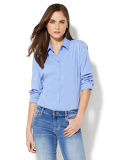 7th Avenue - Madison Stretch Shirt Bodysuit - New York & Company